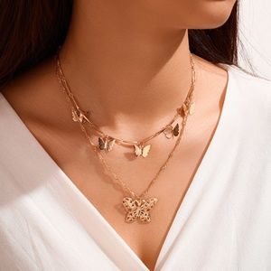 Boho Butterfly Layered Necklace